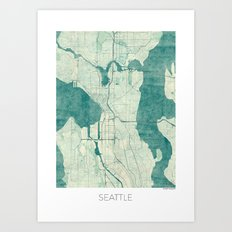 Seattle Map Blue Vintage Art Print