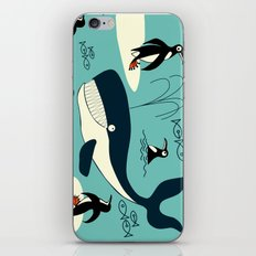 Whales and penguins iPhone & iPod Skin