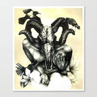 Canvas Print featuring The Ram and the Crows by S.G. DeCarlo