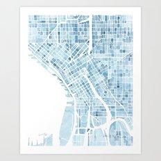 Map Seattle Washington Blueprint watercolor map Art Print