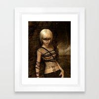 Sad Gothic Girl awaiting the storm  Framed Art Print