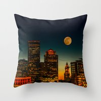 Boston Pink  Moon  Throw Pillow