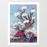 deer Art Prints featuring Journeying Spirit (deer) by Mat Miller