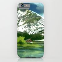 iPhone Cases featuring Mountain and lake landscape by Thubakabra