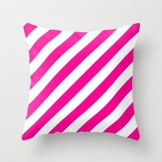 Diagonal Stripes (Magenta/White) Throw Pillow