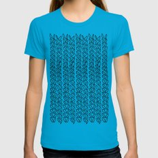 Knit Outline Zoom Womens Fitted Tee Teal SMALL