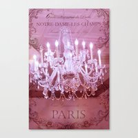 Paris Pink Crystal Chandelier Canvas Print