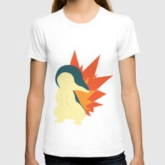 Cyndaquil Splat Womens Fitted Tee White SMALL