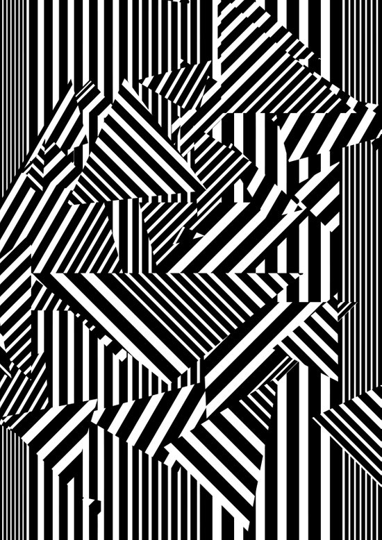 Dazzle Camo #01 - Black & White Canvas Print