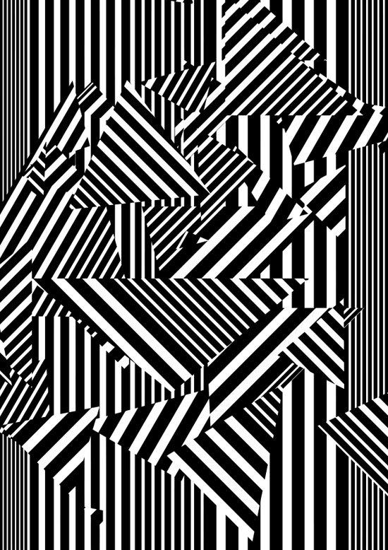 Dazzle Camo #01 - Black & White Art Print