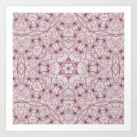 Vintage Raspberry Pink and Paris Gray Earth Mandala with Hearts Art Print