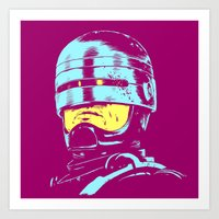 Robocop (neon) Art Print