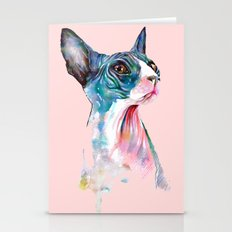 cat on pink Stationery Cards