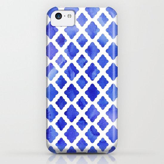 Watercolor Diamonds in Cobalt Blue iPhone & iPod Case