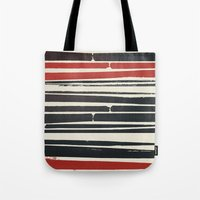 Navy Red Stripes Tote Bag