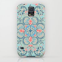 Galaxy S5 Cases featuring Gypsy Floral in Red & Blue by micklyn