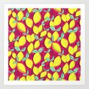 Lemon and pink Art Print
