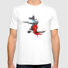 Red Hood & The Badass Wolf Redux SMALL White Mens Fitted Tee