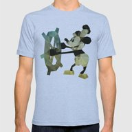 Mickey Mouse As Steamboa… Mens Fitted Tee Athletic Blue SMALL