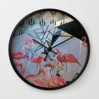 Flamingo Teaparty Wall Clock