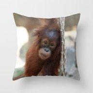 Throw Pillow featuring OrangUtan20150904 by Jamfoto
