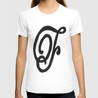 Monogrammed Letter F Womens Fitted Tee White SMALL