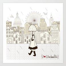 I {❤} Umbrella Art Print