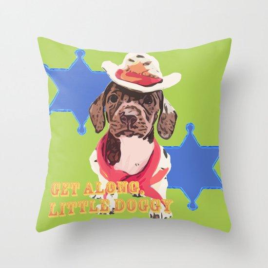 """Get Along Little Doxie"" - Cowboy Dachshund Pop Art Photography! Throw Pillow"