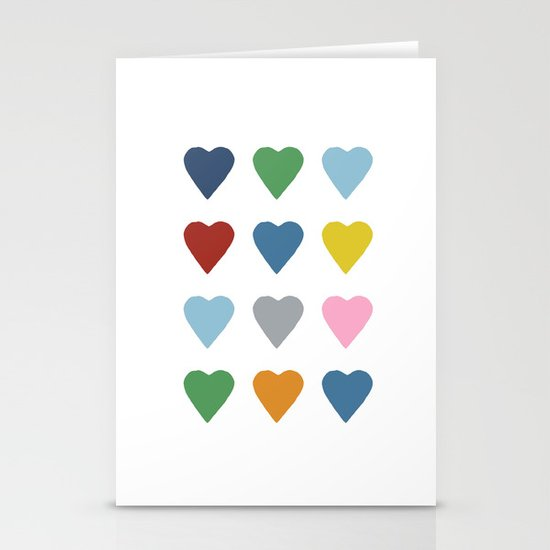 16 Hearts Stationery Card