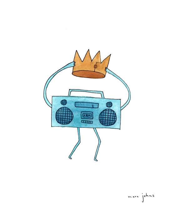 boombox holding a paper crown Art Print
