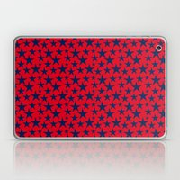 Blue stars on bold red background illustration. Laptop & iPad Skin