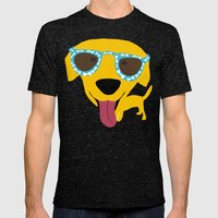 Labrador dog - Sunglasses Mens Fitted Tee Tri-Black SMALL