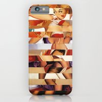 iPhone Cases featuring Glitch Pin-Up Redux: Amber by Wayne Edson Bryan