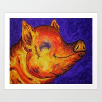 Pig, Happy Art Print