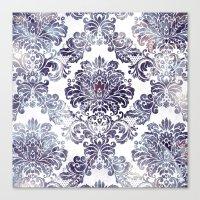 Blueberry Damask Canvas Print