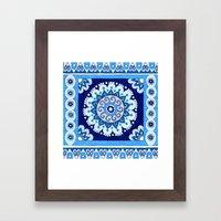 Indigo Tile Framed Art Print