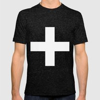 White Plus On Black /// … Mens Fitted Tee Tri-Black SMALL