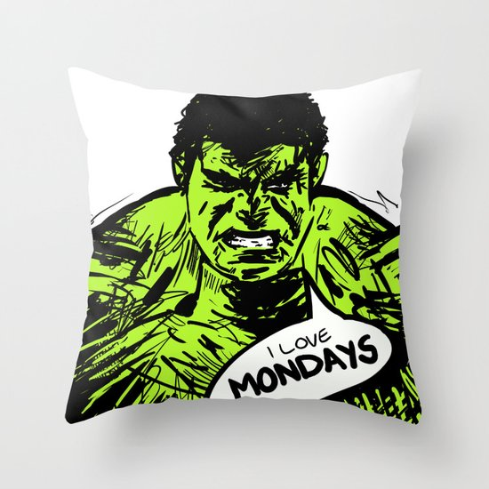 Hulk loves Monday Throw Pillow