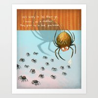 Scared spider Art Print