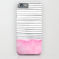 iPhone & iPod Case featuring Stripes and pink watercolor by Lina Littlefield