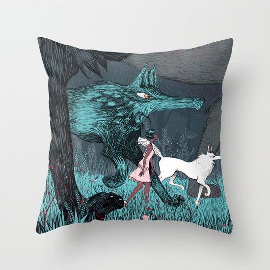 Woman Wolf wandering Throw Pillow