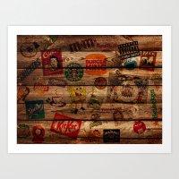 Wooden Wall Of Brands Art Print