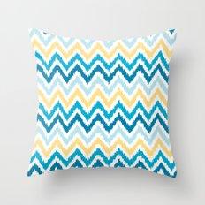 Blue Yellow Zigzag Pattern Throw Pillow