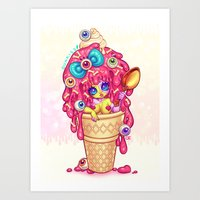 Ice-Cream Zombie Girl Art Print
