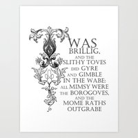 Alice In Wonderland Jabberwocky Poem Art Print