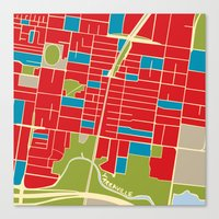 Vintage Style Map of Yarraville Canvas Print