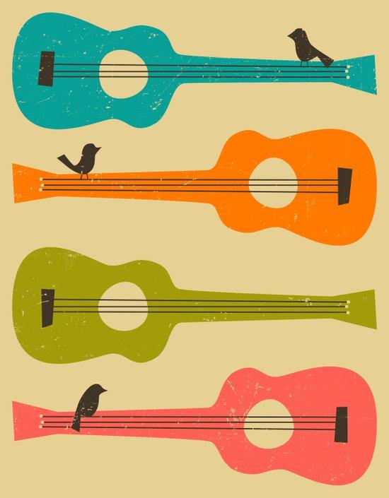 Birds on a Guitar String (beige) Art Print