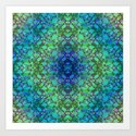 Lila's Flowers Repeat Blue Art Print