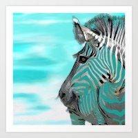 zebra Art Prints featuring Zebra  by Saundra Myles