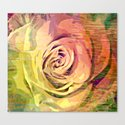 Vintage Painterly Autumn Rose Abstract Canvas Print